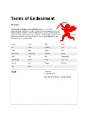 English Worksheet: Terms of Endearment