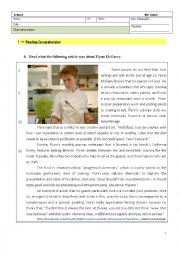 English Worksheet: Test - 8th Grade  - Cooking Passion