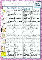English Worksheet: Gr ex - Placement Test Grammar 2