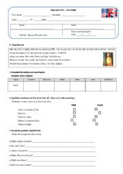 English Worksheet: 5th Form test - Personal info
