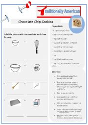 English Worksheet: Typically American Chocolate Chip Cookies