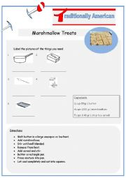 English Worksheet: Typically American Marshmallow Treats