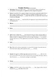 English Worksheet: Tennis Vocabulary