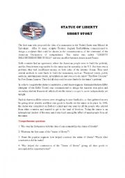 English Worksheet: Statue of liberty short story