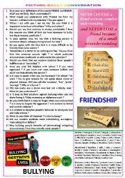 English Worksheet: Picture-based conversation : topic 83 - bullying vs friendship