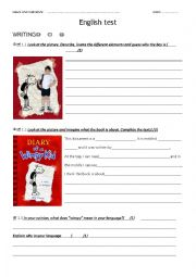English Worksheet: TEST The diary of a wimpy kid