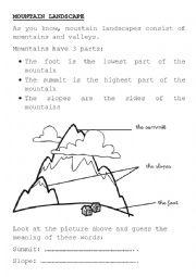 english worksheets mountain landscape. Black Bedroom Furniture Sets. Home Design Ideas
