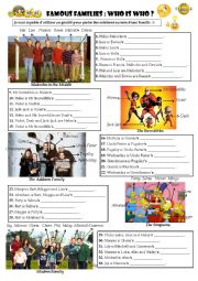 English Worksheet: Famous Families: Who is who? (genitive form)