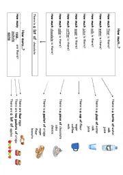 English Worksheet: much, many