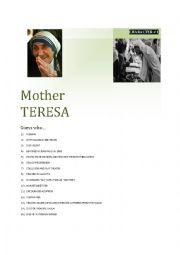 English Worksheet: Guessing game CARD 5/5 Mother Teresa