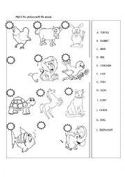 English Worksheet: Animals matching activity
