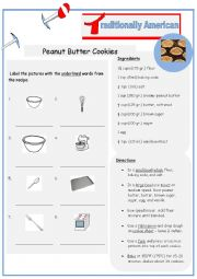 English Worksheet: Typically American Peanut Butter Cookies