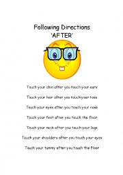 English Worksheet: �After� following directions