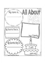 English Worksheet: All about me worksheet