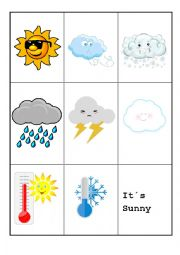 English Worksheet: What�s the WEATHER like? Memory Game