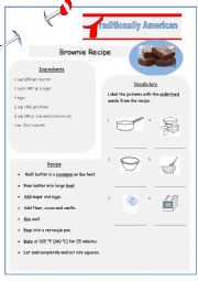 English Worksheet: Typically American Brownies