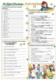 English Worksheet: Adjectives - Adverbs