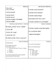 English Worksheet: Helping cards for guessing game