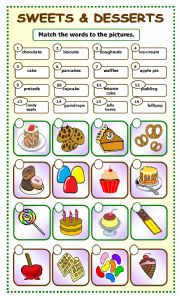 English Worksheet: Sweets and Desserts:matching_6