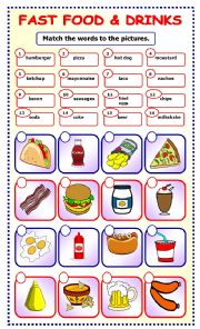 English Worksheet: Fast Food and Drinks:matching_7