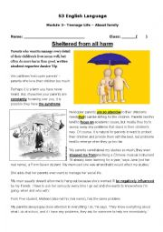 English Worksheet: Relationships between parents and teenagers
