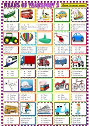 English Worksheet: Means of transport multiple choice 2