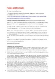 English Worksheet: SAT-style critical reading: Russia and the Rouble