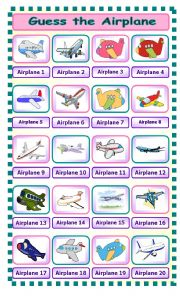 English Worksheet: Guess the Airplane