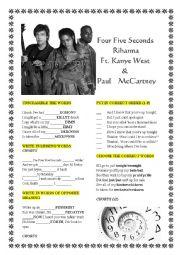 English Worksheet: Rihanna, Kanye and Paul McCartney �FourFiveSeconds�