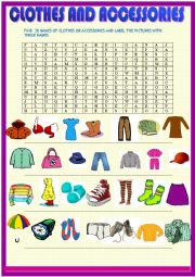 English Worksheet: Clothes wordseach puzzle