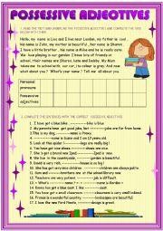 English Worksheet: Possessive adjectives for beginners