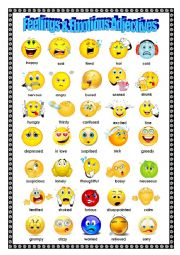 English Worksheet: Adjectives: Feelings and Emotions