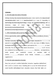 English Worksheet: End of Term Test 2 4th form language