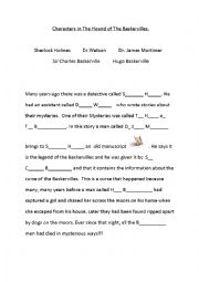 English Worksheet: Characters in Sherlock Holmes ´The Hound of The Baskervilles´ -cloze activity worksheet