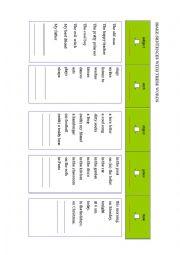 English Worksheet: sentence building machine