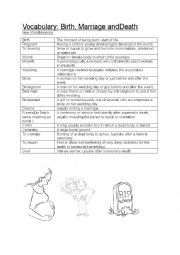 English Worksheet: Vocabulary sheet Birth,Marriage and Death