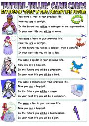 English Worksheet: Future teller game cards. Revision of