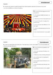 English Worksheet: Entertainment photo comparison and conversation questions