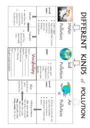 English Worksheet: Different kinds of pollution