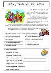 English Worksheet: The picnic by the river