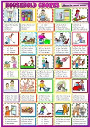 English Worksheet: Household chores, multiple choice activity 2