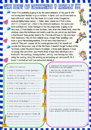 English Worksheet: The best of weekends ! Really!!/ household chores  reading