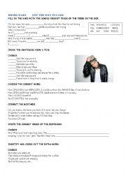 English Worksheet: song Bruno Mars Simple Present