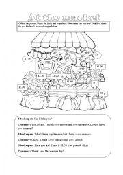 English Worksheet: at the market