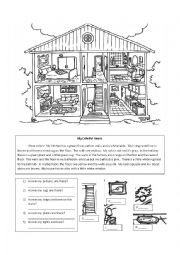 English Worksheet: Parts of the House Reading and Writing