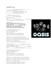 English Worksheet: Song activity Stand by me - Oasis