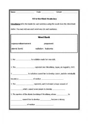 english worksheets atomic bomb fill in the blanks. Black Bedroom Furniture Sets. Home Design Ideas