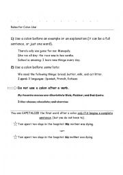 English Worksheet: colon and semicolon rules