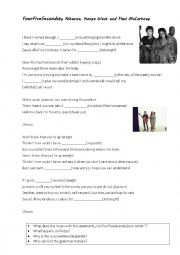 English Worksheet: top chart song Four Five Seconds by Rihanna West McCartney