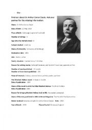 Sir Arthur Conan Doyle´s biography - Gap fill : asking questions